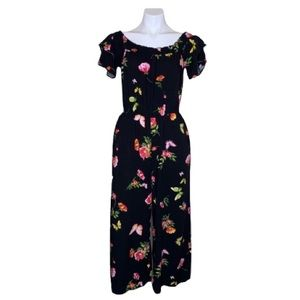 Floral and Butterfly Pattern Wide Leg Romper